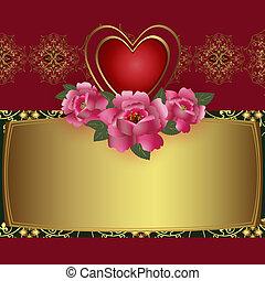 hjerte, lykønskning, card, rød