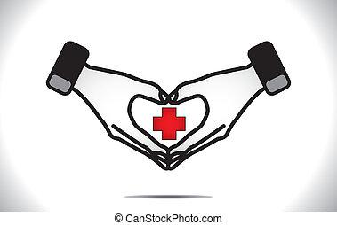 hjerte, medicinsk, beskyttelse, plus, omsorg
