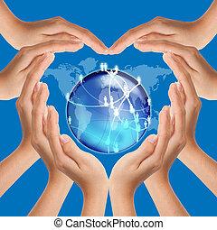 hjerte, netværk, forarbejde, hænder, facon, sociale
