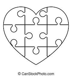 hjerte, opgave, ikon, stykker