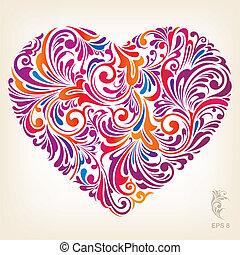 hjerte, ornamental, farvet, mønster