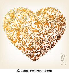 hjerte, ornamental, guld, mønster