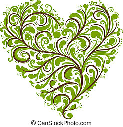 hjerte, ornamentere, facon, konstruktion, blomstrede, din