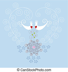 hjerte, ornamentere, fugle, constitutions