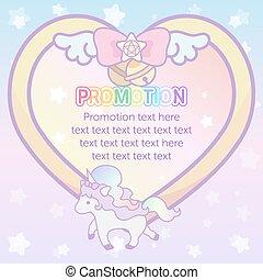 hjerte, pastel, magiske, cute, skabelon, enhjørning, dejlige, banner, bånd