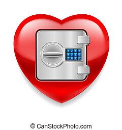 hjerte, pengeskab, skinnende, rød