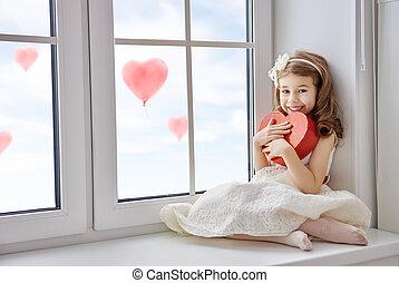 hjerte, pige, rød