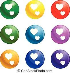 hjerte, sæt, tommelfinger, iconerne, oppe, vektor