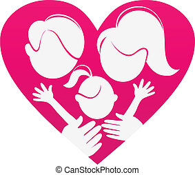 hjerte, silhuet, familie, abstrakt, familie, sign-love