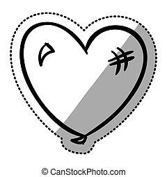 hjerte, silhuet, lejlighed, mærkaten, facon, balloon, ikon