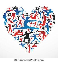 hjerte, silhuetter, sport