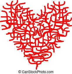 hjerte, skitse, abstrakt formgiv, din, rød