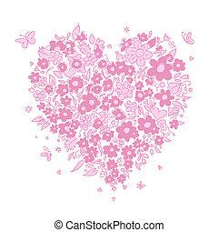 hjerte, skitse, facon, konstruktion, blomstrede, din