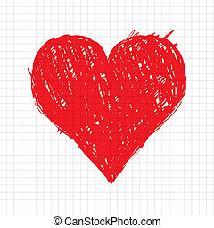 hjerte, skitse, facon, konstruktion, din, rød