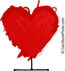 hjerte, skitse, konstruktion, din, rød
