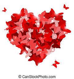 hjerte, sommerfugle, rød, vale