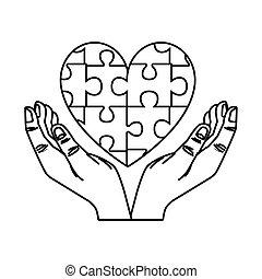 hjerte, stykker, menneske, opgave, boldspil, hænder