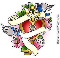 hjerte, svale, blomst, emblem, gorgeous