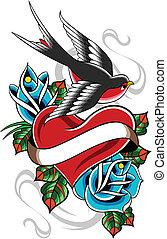 hjerte, svale, blomst, tatovering