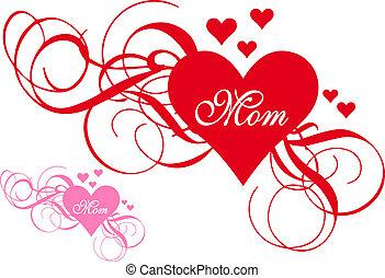 hjerte, swirls, dag, rød, mor