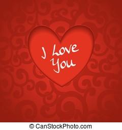 hjerte, swirls, skære, abstrakt, valentine, farver, avis, baggrund, banner, rød, ydre