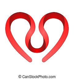 hjerte, symbol, rød