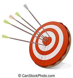 hjerte, target, rød