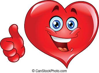 hjerte, tommelfinger oppe