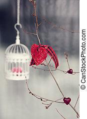 hjerte, valentine, strikk, decorations., fugl bur