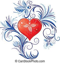 hjerte, valentines, rød