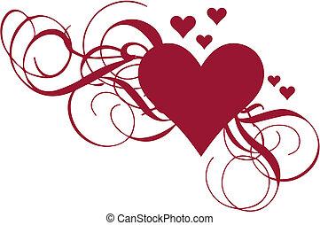 hjerte, vektor, swirls