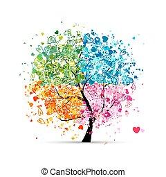 hjerter, årstider, -, sommer, din, træ, fire, efterår, kunst, winter., forår, lavede, konstruktion