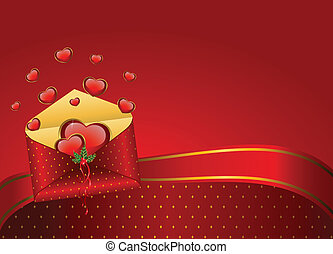 hjerter, konvolutter, rød