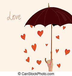 hjerter, paraply, card, valentine