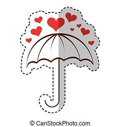 hjerter, paraply, ikon