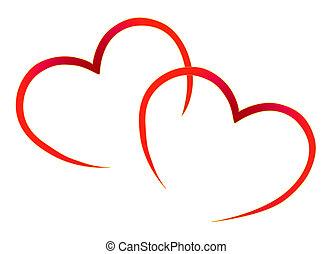 hjerter, rød