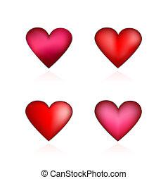 hjerter, sæt, valentines