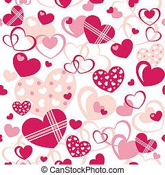hjerter, -, seamless, mønster