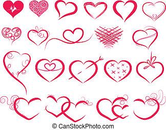 hjerter, symbol, sæt