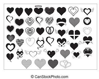 hjerter, vectors