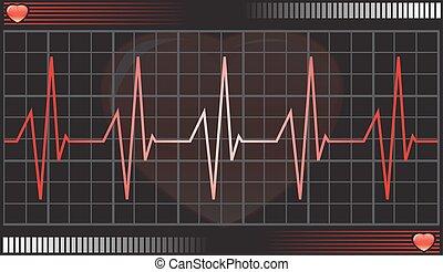 hjerteslag, dataskærm, illustration