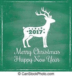 hjort, för, jul, på, chalkboard, bakgrund