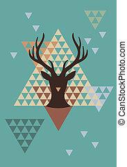 hjort, triangel, jul, mönster