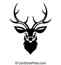 hjort, vektor, head.
