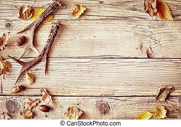 hjorthorn, rustik, ved, gammal, bakgrund