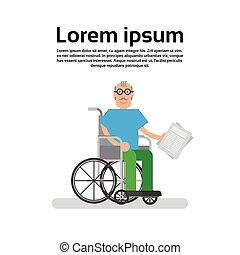 hjul, äldre bemanna, stol, farfar