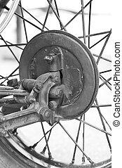 hjul, årgång bil, nära, uppe.