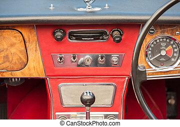 hjul, årgång, styrning, instrumentbräda, fordon