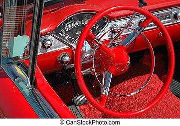 hjul, årgång, tankestreck planka, bil