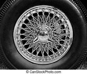 hjul, årgång, tråd, närbild, bil